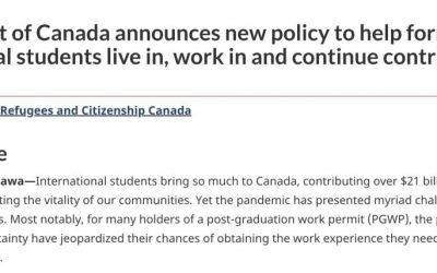 史上首次可延长毕业工签!加拿大出台新规!